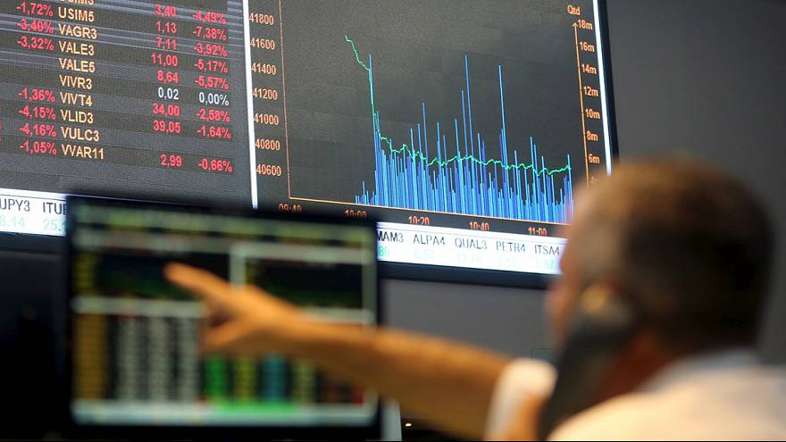 European shares fell sharply but came off lows after China suspends its circuit breaker mechanism
