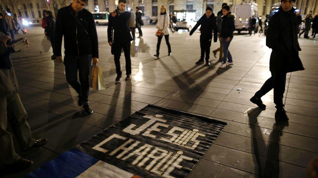 В Париже почтили память жертв нападения на Charlie Hebdo