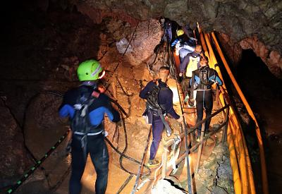 Thai military personnel inside a cave complex during the ongoing rescue operations for the youth soccer team and their assistant coach, at Tham Luang cave in Thailand, on July 7, 2018.
