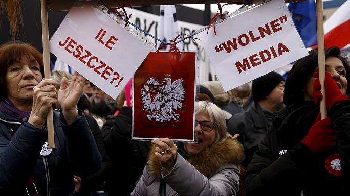 Demonstrations follow introduction of Poland's new state media law