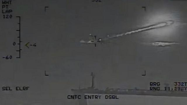 [Video] Iran warship fires unguided rockets metres from US aircraft carrier