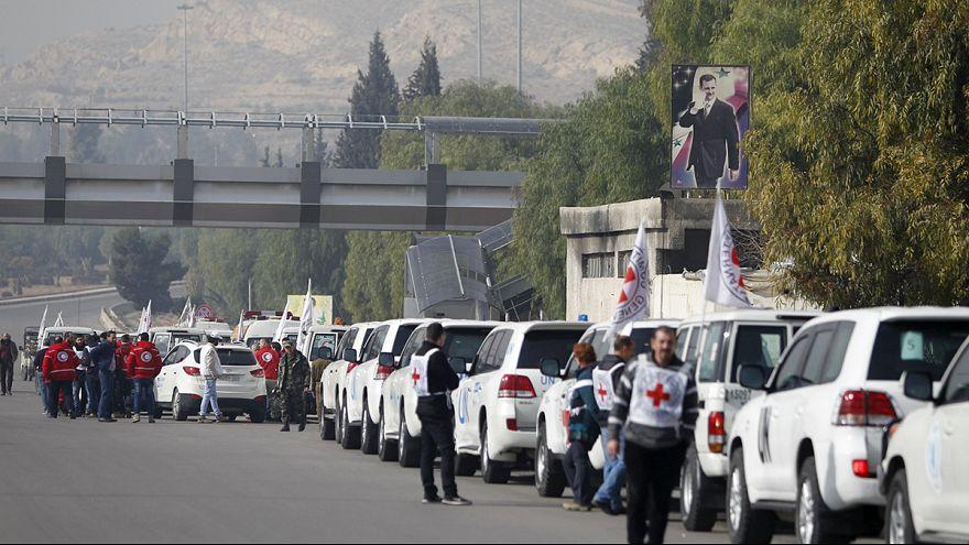 کاروان کمک های غذایی به شهر محاصره شده مضایا در سوریه رسید
