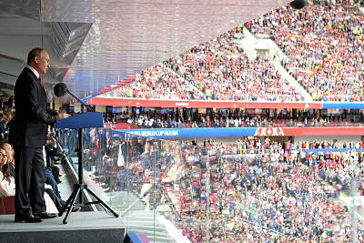 Russian President Vladimir Putin speaks during the opening ceremony of the World Cup on June 14.