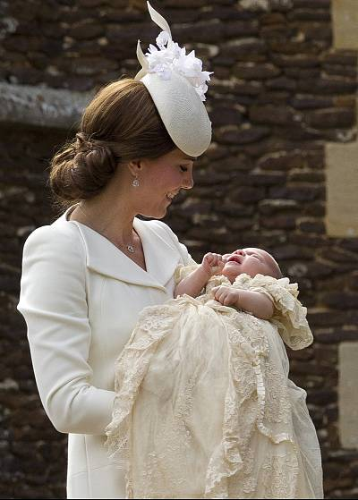 The duchess sported a similar look at the christening of Princess Charlotte on July 5, 2015.