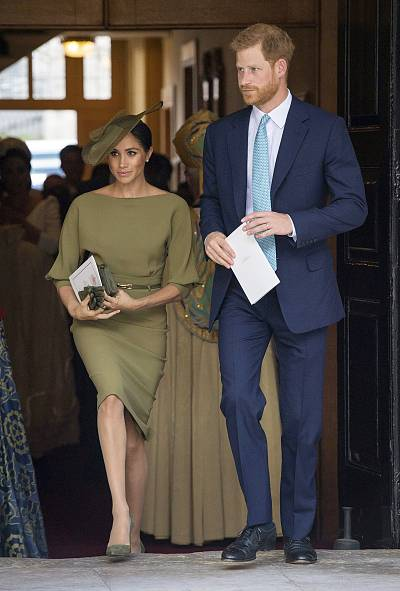 Harry and Meghan leaving the service
