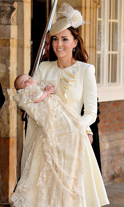 Kate wore a ruffled, cream dress for the christening of her first child, Prince George, in 2013.