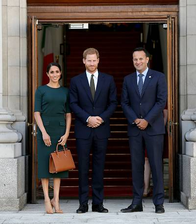 The royal couple posed with Ireland\'s taoiseach, Leo Varadkar.