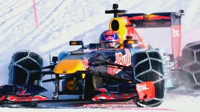 Red Bull fait rouler sa Formule 1 sur une piste de ski