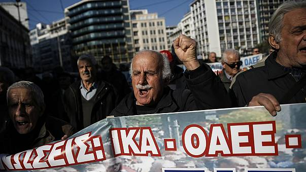 Manifestación en Atenas contra la reforma de las pensiones