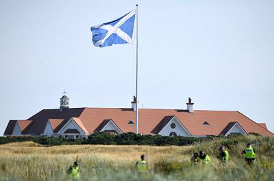 Police patrol the area outside Trump Turnberry on Sunday.