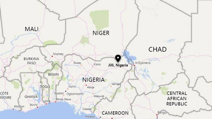 Image: A map showing the location of Jilli, Nigeria.