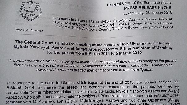 Суд ЄС «розморозив» активи Азарова і членів його уряду