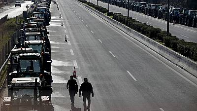 Greek farmers block Athens airport road junction with tractors – nocomment