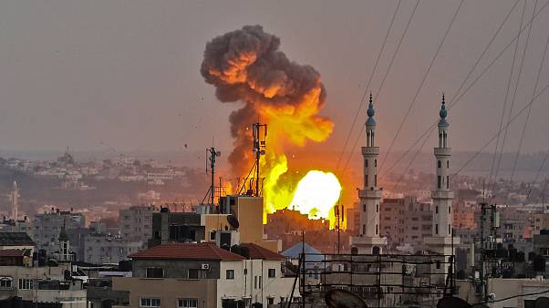 Image: A fireball exploding in Gaza City during Israeli bombardment on July