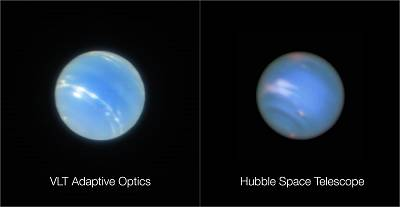 Neptune (left) was taken during the testing of the Narrow-Field adaptive optics mode and image (right) is from the NASA/ESA Hubble Space Telescope.
