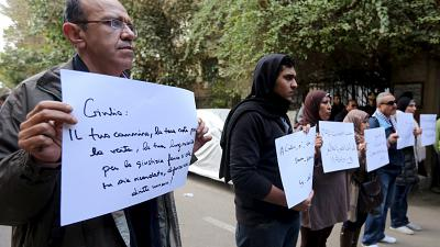 Un rassemblement pour rendre hommage à l'étudiant italien mort