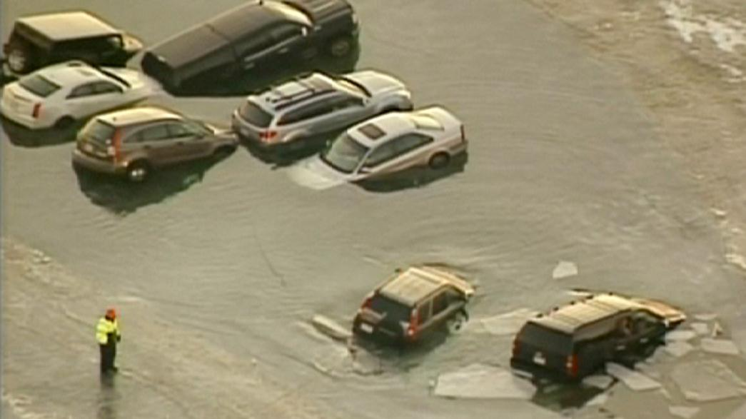 US: Cars parked on frozen lake rescued after ice cracks