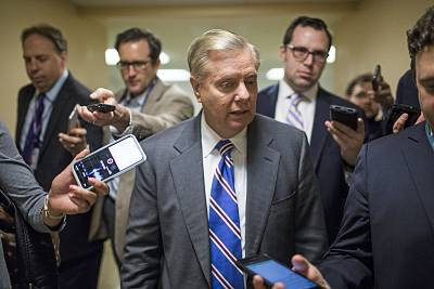 Sen. Lindsey Graham, R-S.C., speaks to reporters in the Senate Basement on Capitol Hill on April 10, 2018.