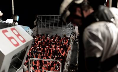 Migrants are rescued by the Aquarius in the Mediterranean Sea on June 10.