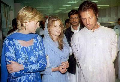 Princess Diana is given a tour of Imran Khan\'s charity cancer hospital with the cricket icon and his then-wife Jemima in May 1997.