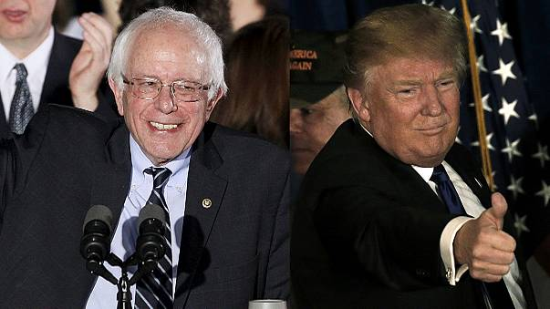 فوز دونالد ترامب وبيرني ساندرز في الانتخابات الأولية في نيو هامبشير