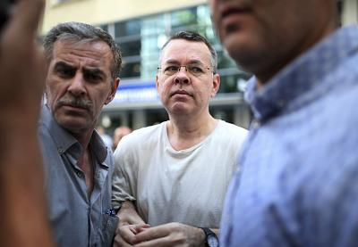 Andrew Craig Brunson, an evangelical pastor from Black Mountain, North Carolina, arrives at his house in Izmir, Turkey on July 25, 2018.  Brunson, who has been jailed in Turkey for more than one and a half years on terror and espionage charges was released Wednesday and will be put under house arrest as his trial continues.
