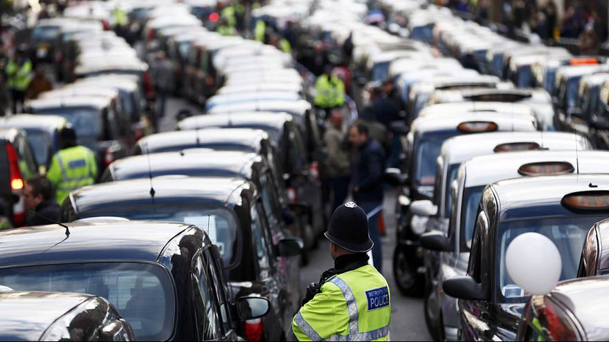 London's Black Cabs protest against Uber