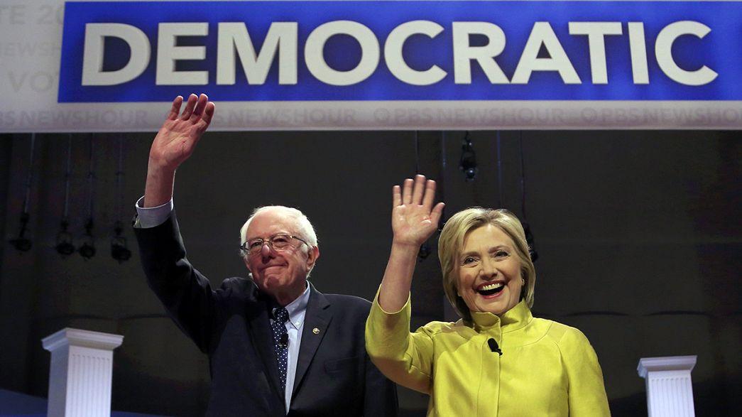 Sanders ve Clinton kozlarını bir kez daha televizyonda paylaştı
