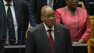 South Africa's Zuma highlights nuclear plans as opposition disrupts speech