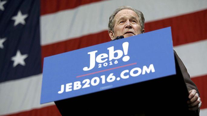 بوش الرئيس الإبن يدعم شقيقه جييب المرشح للرئاسة الأميركية