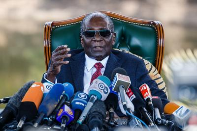 Former Zimbabwean President Robert Mugabe gives a surprise press conference at his home in Harare, on the eve of the country\'s first election since he was ousted from office last year after 37 years in power.