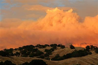 Smoke from the Ranch Fire part of the Mendocino Complex of fires near Mendocino National Forest, California, on Sunday.