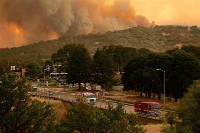 Smokes billows from the River Fire part of the Mendocino Complex of fires in Lakeport, California, on Sunday.