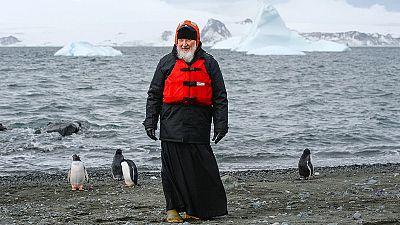 Russian Orthodox leader Patriarch Kirill meets penguins in Antarctica