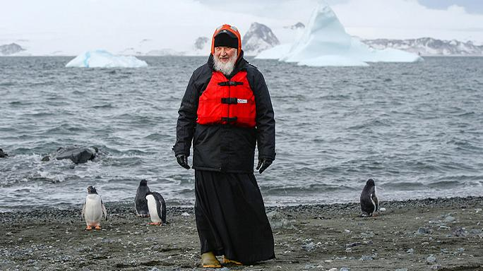 Russian Orthodox leader Patriarch Kirill meets penguins in Antarctica