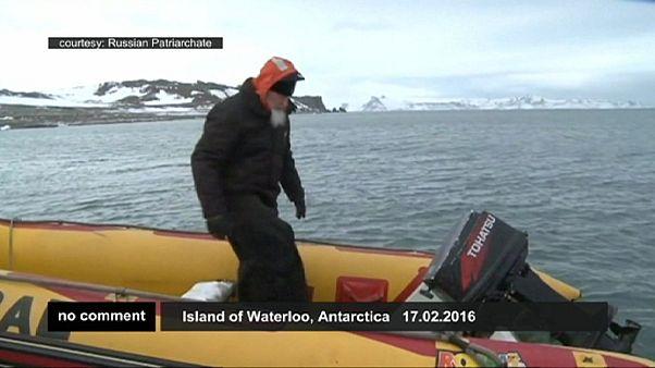 حضور رهبر کلیسای ارتدوکس روسیه در قطب جنوب