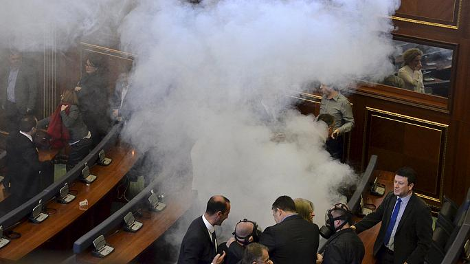 Kosovo opposition set off tear gas in parliament, again