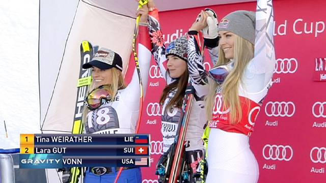 Tina Weirather clinches super-G ahead of Gut and Vonn