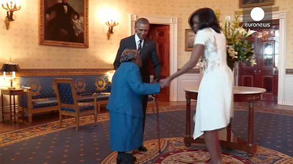 Watch: 106-year-old woman dances with Barack and Michelle Obama!