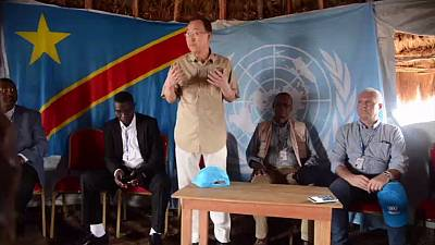 Ban Ki-moon visits internally displaced persons camp in DRC