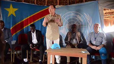 RDC : Ban Ki-moon dans un camp de déplacés à l'Est