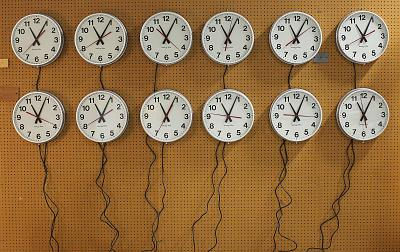 Wall clocks are tested at the Electric Time Company in Medfield, Massachusetts.