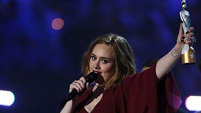 British singer Adele steals the show at BRIT Awards