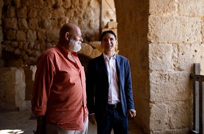 British archaeologist Tony Steele and project manager Stephen Battle  during a field trip to the historic 12th-century Ajloun Castle in Jordan.