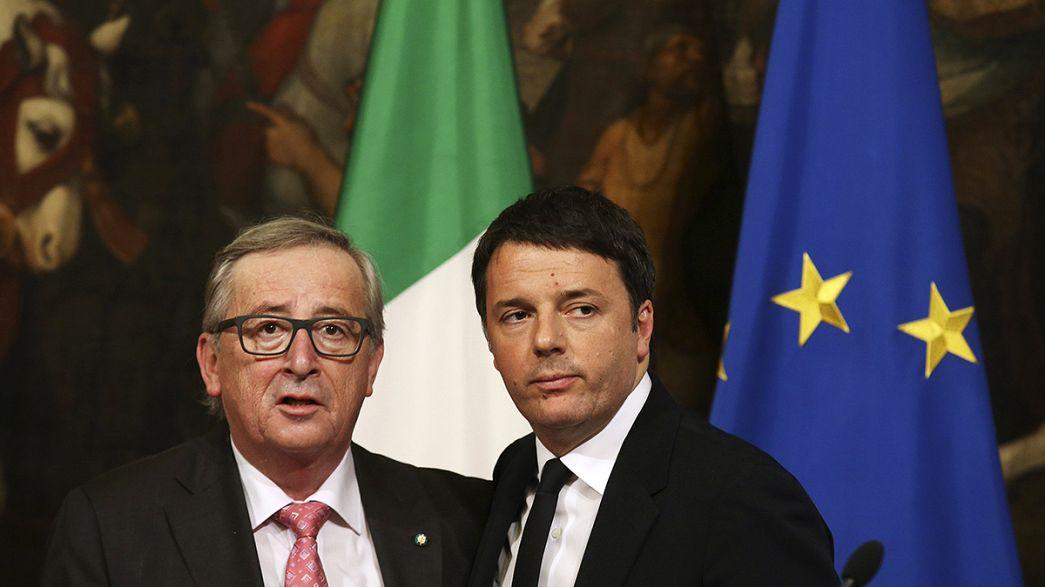 """Juncker a Roma fa pace con Renzi: """"Nessun problema con l'Italia"""""""