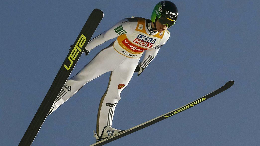 Saltos de Esqui: Prevc voa mais alto em Almaty