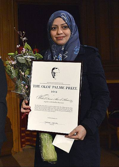 Samar Badawi during a visit to Sweden\'s Parliament in 2013.