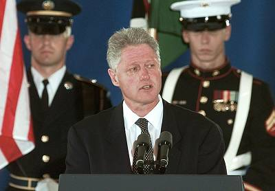 President Bill Clinton addresses family and friends during a memorial ceremony on Aug. 13, 1998 at Andrew Air Force Base for the victims of the US Embassy bombing in Nairobi.