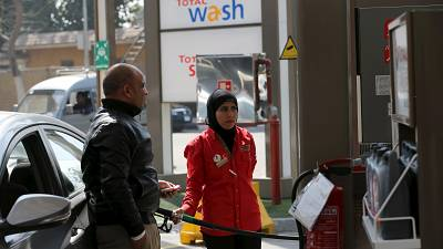 All female crew serving clients in Egypt's filling station defy stereotypes
