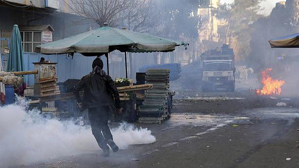 Turkish police break up protests in Kurdish south east